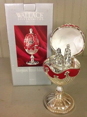 New In Box!! Wallace Silversmiths Silverplated Musical Box Holiday Christmas Egg