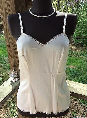 Vintage Vanity Fair Lite Pink Nylon And Lace Camisole Sz 36 Usa Made