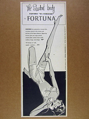1955 Fortuna Hi-Tension Girdle lingerie bra fashion art vintage print Ad