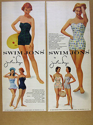 1955 Jonathan Logan SWIM JONS women's swimsuit 6 Styles photo vintage print Ads