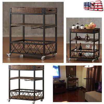 Rustic Kitchen Island Wine Utility Bar Cart Glass Wine Holder Removable New Us