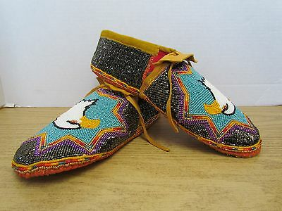 Incredible Full Bead Moccasins 10 Inches, Regal Eagle, Authentic Native American