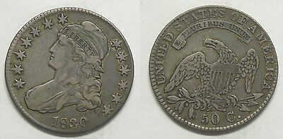 X286  1830 Capped Bust Half Dollar, VF details, Small 0