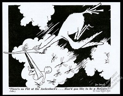 1934 Dr. Seuss stork and baby cartoon Flit Insecticide vintage print ad