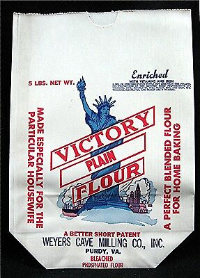 Victory Flour Bag Statue of Liberty Weyers Cave Mill Purdy Va Unused Old Stock