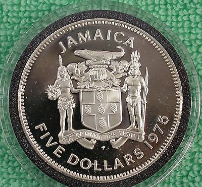 1975 Jamaican $5 Silver Manley Commemorative in New Airtite