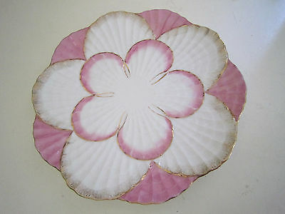 Vintage Pink White And Gold Scalloped Porcelain Oyster Shell Plate