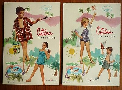 VINTAGE 50's CATALINA SWIMWEAR CHILDRENS BATHING SUIT STORE COUNTER DISPLAY SIGN