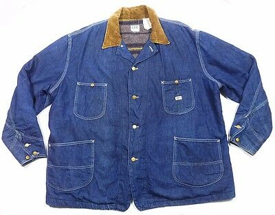 Vtg Union Made Sanforized Lee Chore Barn Indigo Denim Jacket Alaska Lined 2Xl