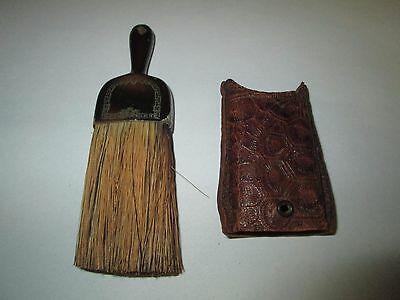 """Antique Barber's Wisk Gentleman's Brush with Leather Case 5"""""""