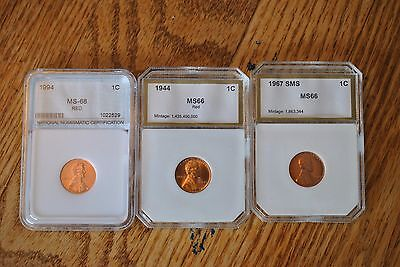 Lincoln Penny Cent BU Unc Uncirculated Three coin Set 1944/1967SMS/1994