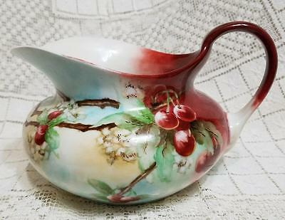 Vintage Bavaria Germany Lemonade Cider Jug Hand Painted Cherries Pitcher