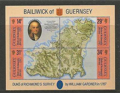 Guernsey 1987 Duke of Richmond's Map ss--Attractive Topical (347) MNH