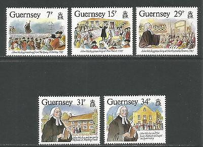 Guernsey 1987 John Wesley Visit 200th Anniv--Attractive Topical (362-66) MNH