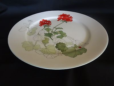 Block China Watercolors - Geranium  - Pair of Dinner Plates - Portugal