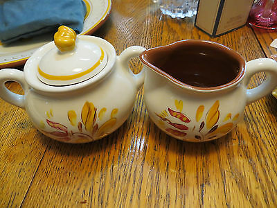 Estate Stangl Pottery Provincial Covered Sugar and Creamer