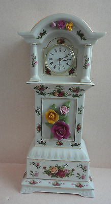 """Royal Albert Old Country Roses GRANDFATHER CLOCK Mint 16"""" Pretty"""