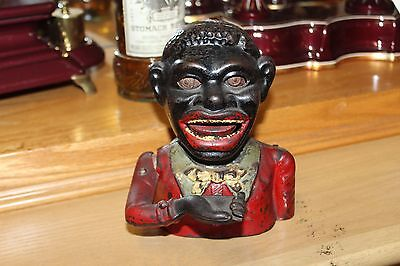 Cast Iron Jolly N Mechanical Penny Bank Black Americana Made in England