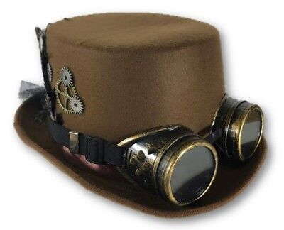 Brown Steampunk Victorian Top Hat Adult Feathers Gears Goggles Costume Accessory