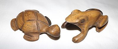 Pair of  Teak Wood Hand Carved Turtle and Frog