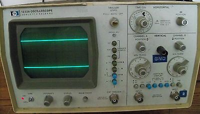 HP Dual Channel Oscilloscope Model 1222A w/ 1 Probe and Power Cord