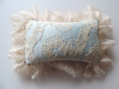 Antique Lace and Satin Pin Cushion Heirloom Lacework Sewing PIncushion Notion