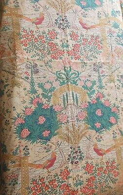 Panel Antique Vintage 1920/30's Fabric  ~Exotic Birds Trees Flowers Etc ~