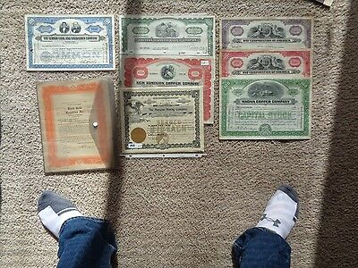 Lot of 8 Stock Certificates Coal, Mining, Copper, Railroad, Gold Excellent Lot