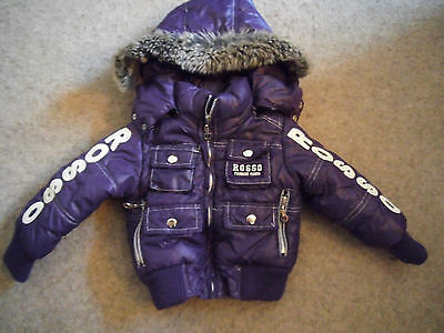 Baby girls Rosso Kids purple padded, hooded jacket age 12 months