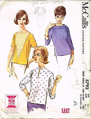 Vintage Sewing Pattern Pullover Blouse McCall's 5793  12/32 1960's Fashion