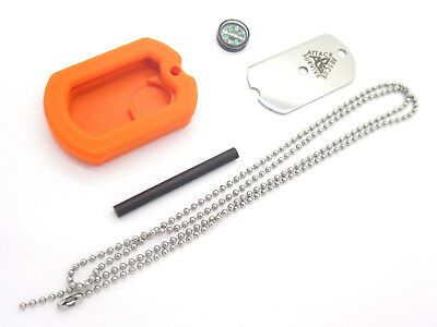 Ars Military Id Dog Tag Knife Emergency Survival Signal Compass Firestarter Kit