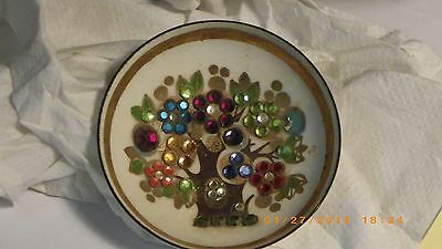 Vintage Austria Steinbuck Email glass dish with tree with colored stones