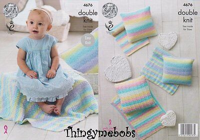 King Cole 4676 Baby Blankets & Cushions Original Melody Dk Knitting Pattern