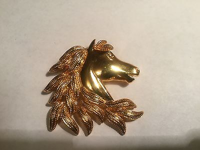 Horse Head Pin -- Gold tone-- signed Napster