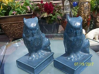 Rookwood Pottery production figural owl on book bookends