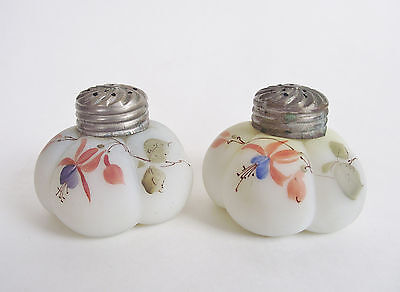 PAIR Antique MELON SHAKERS Salt Pepper VICTORIAN Painted FLOWER Enamel Art GLass
