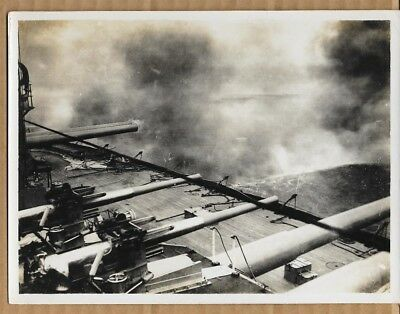 WWI Broadside Being Fired From Dreadnought Battleship 6x8 Original News Photo