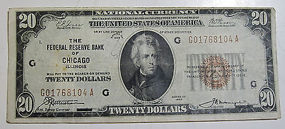 1929 Twenty dollar National Bank Note of Chicago! (#719a)