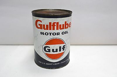 """Vintage Gulflube Motor Oil 1 Quart -0.946 Litre Metal Tin Can, Empty 5 1/2"""" H."""