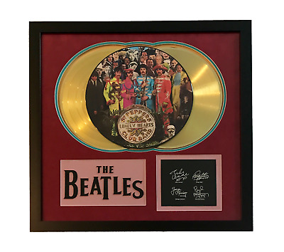 """Beatles """"sgt. Pepper's"""" Lp Gold Record Photo Disk Collage Facsimile Signed"""