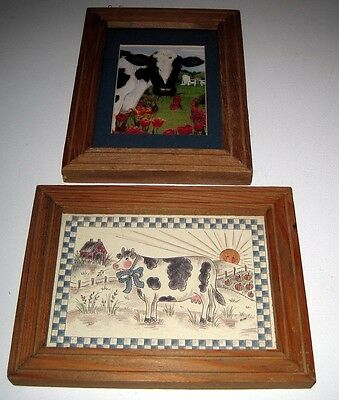 2 Country Holstein Cow Framed Print Sketch Farm Barn Flower Garden Pumpkins MiMi