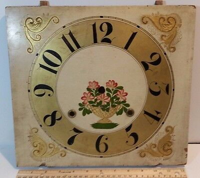 Antique 1800's Hand Painted L.C. IVES 8 day Wood Clock Face