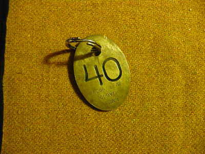 Vintage Solid Brass Cattle Tag #40 Titled Four Leaf Clover with Ring
