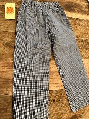 NWT Southern Sunshine Kids Navy Blue Check Elastic Waist Boy Pants 100% Cotton S