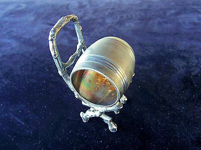 Antique Victorian Ornate Silver Plate Napkin Ring Holder Barrel Branch Chair
