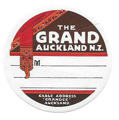 Authentic Vintage Luggage Label ~ The Grand Auckland, New Zealand