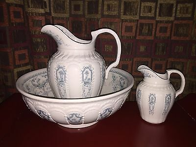 Antique Bwm & Co Landscape 3 Pc Porcelain Wash Basin & Pitcher Set-White & Green