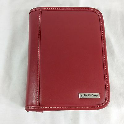 Red Sim. Leather Franklin Covey Planner Pocket Binder Organizer Small Little