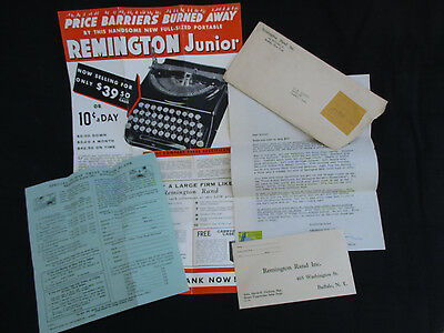 Vintage 1939 Remington Rand Junior Portable Typewriter Brochure Poster