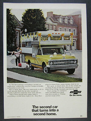 1970 Chevrolet Chevy Pickup Truck with Camper Body color photo vintage print Ad